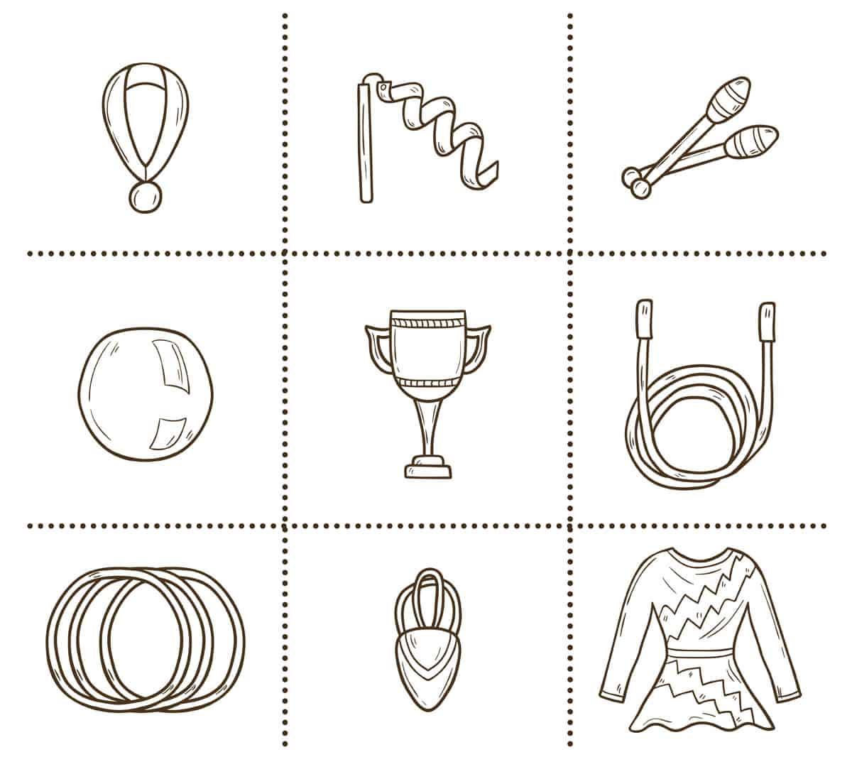 Der findes meget forskelligt gymnastikudstyr. F.eks. ringe, køller, vimpel, tov, selve gymnastikdragten og mm.